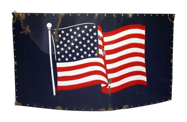 Large Metal American Flag Sign