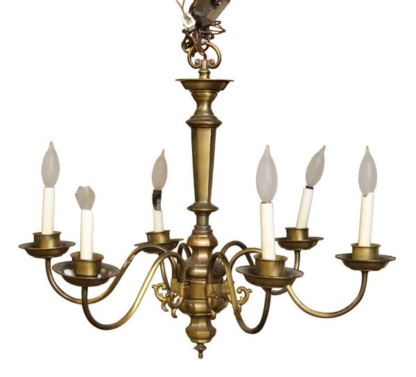 Six Arm Brass Colonial Style Chandelier