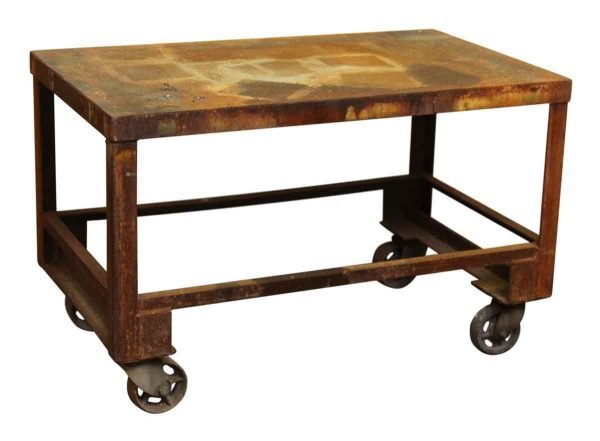 Industrial Rolling Cart with Rust Patina