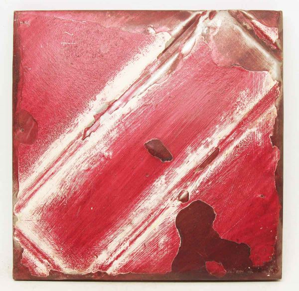 Red & White Salvaged Tin Panel