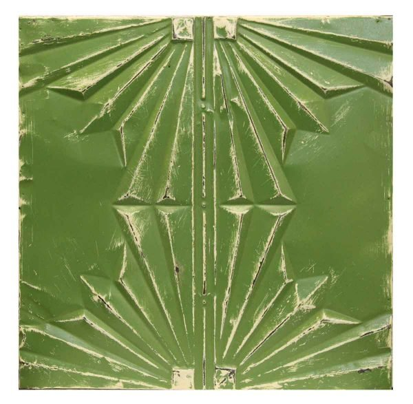 Green Geometric Antique Tin Panel