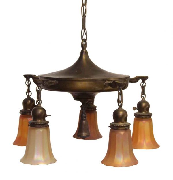 Five Down Light Brass Chandelier with Art Glass Shades