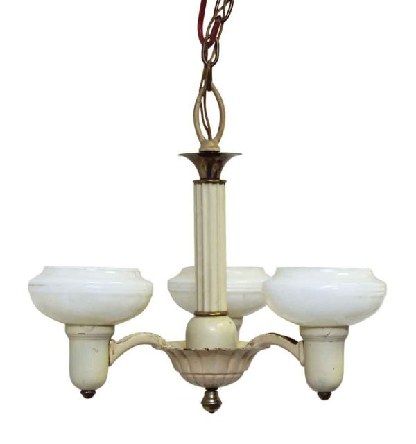 Three Arm Yellow Chandelier with White Glass Shades