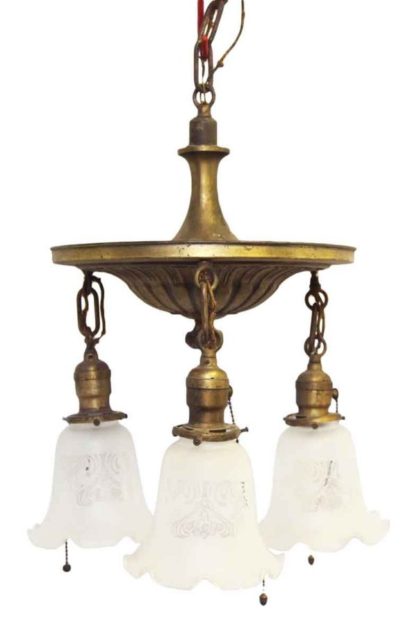 Down Light Brass Chandelier with Ruffled Glass Shades