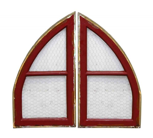 Chicken Wire Glass Paneled Arch Red Metal Window