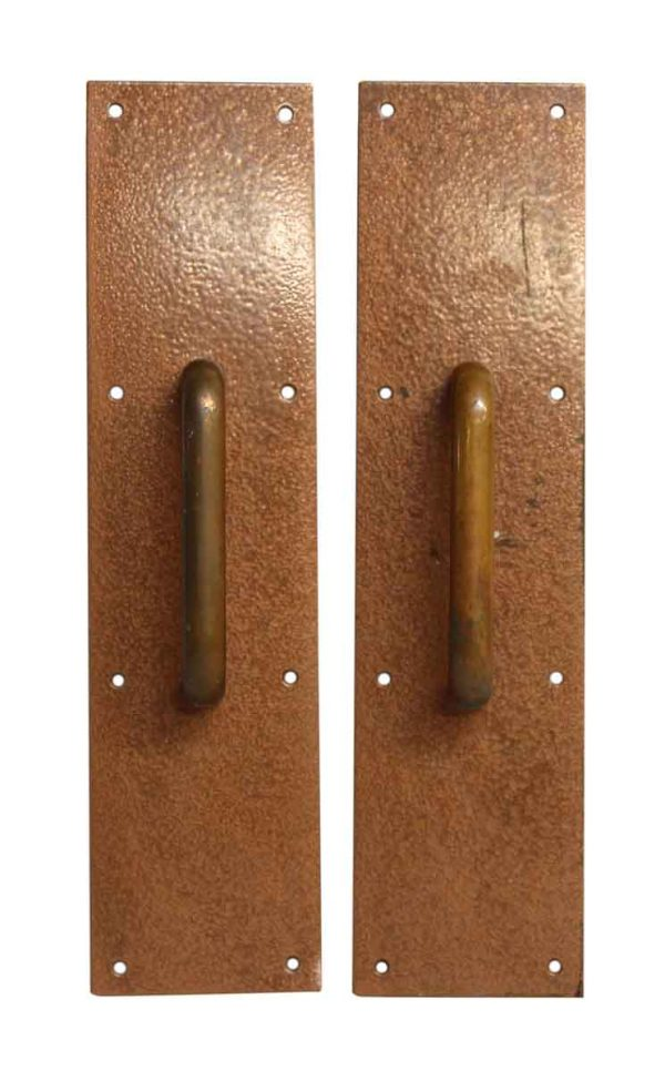 Pair of Textured Copper Finished Door Pulls