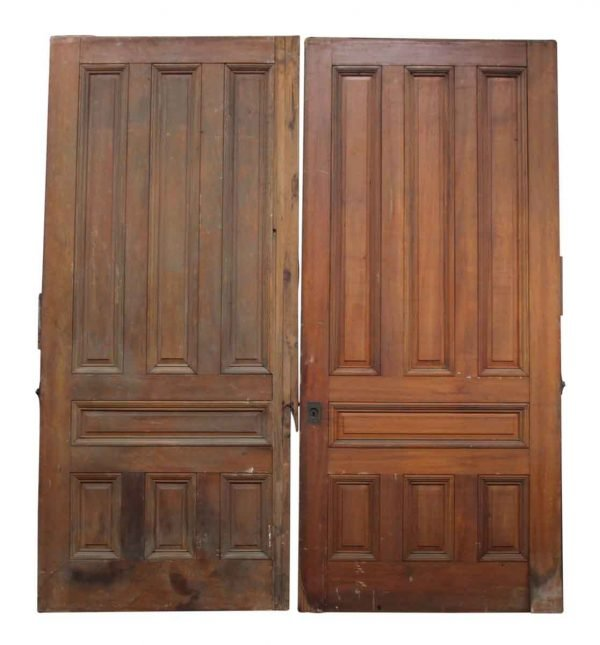 Pair of Cherry Pocket Doors with Raised Panels