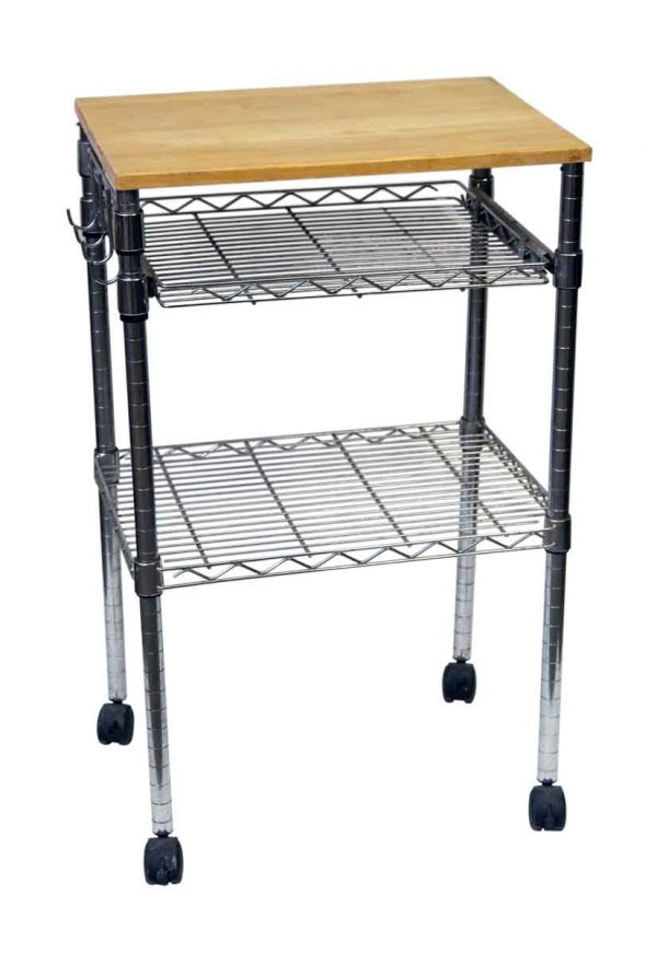 Metal Roll Storage Cart with Wood Top