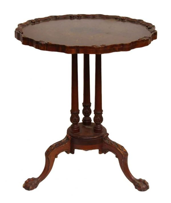 Carved Wooden Table with 3 Claw Feet Legs