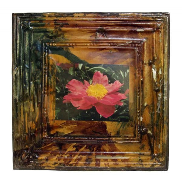 Painted Tin Panel with Attached Flower Print