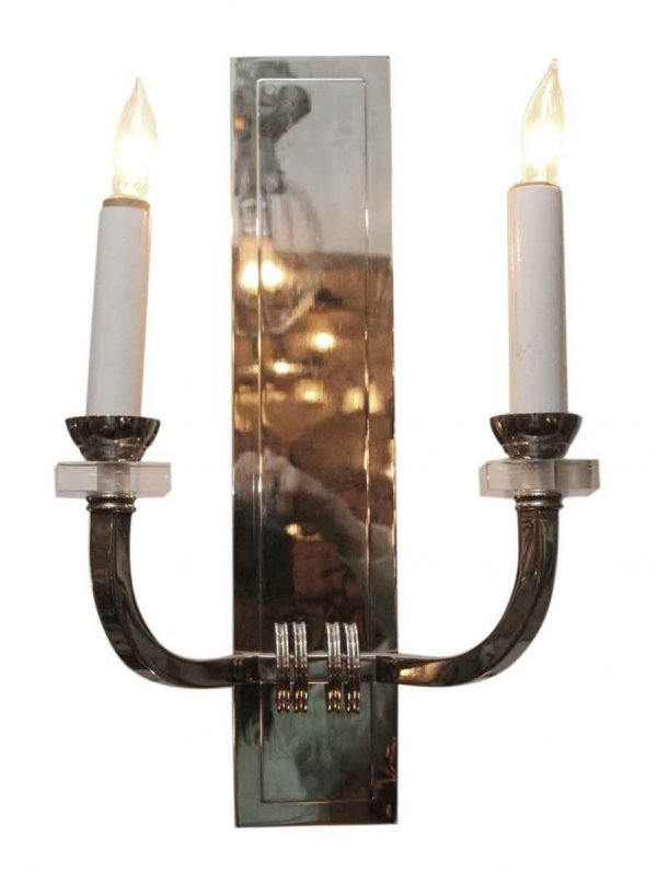 Deco Nickel Wall Sconce with Lucite Bobeches