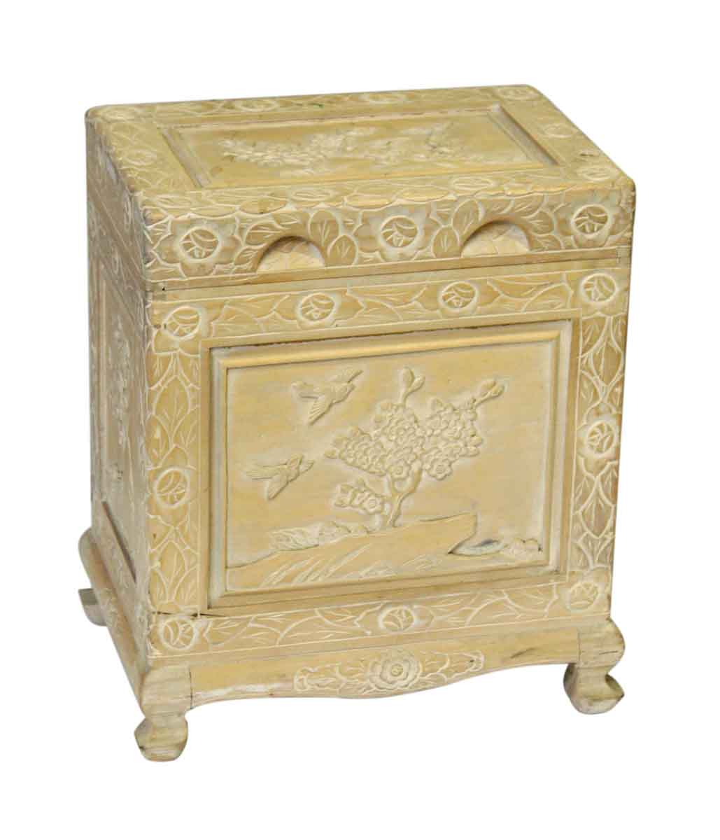 Wonderful image of  / Antique Furniture / Chests / Blonde Carved Wooden Storage Chest with #654A21 color and 1029x1200 pixels