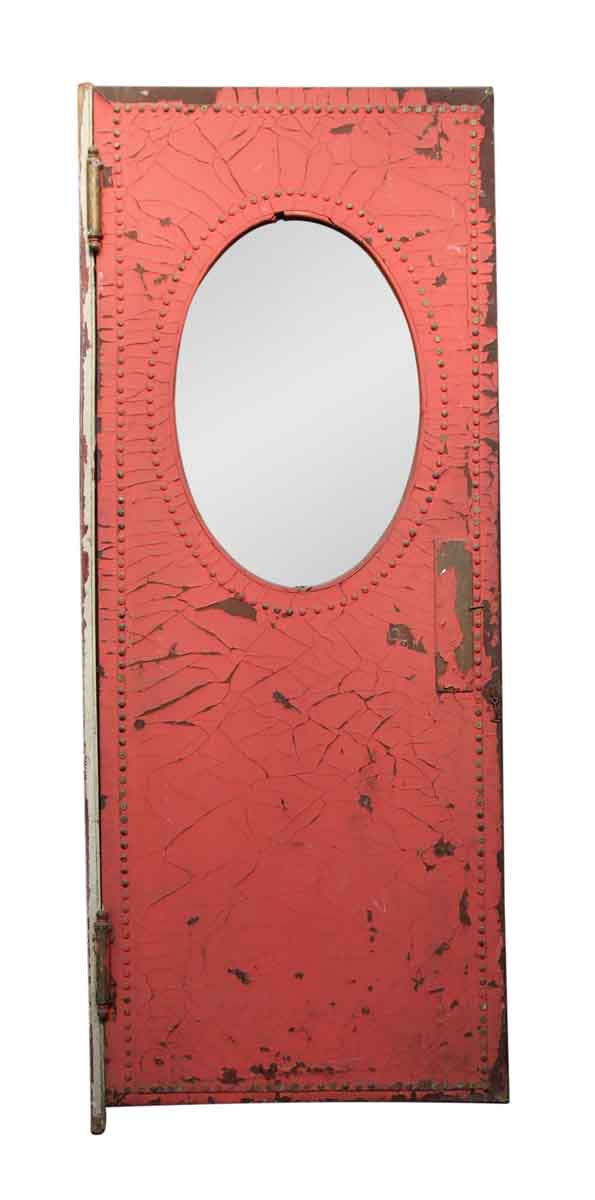 Faded Red Studded Leather Clad Door with Oval Window