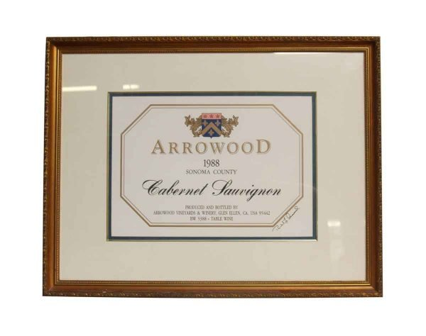 1980s Arrowood Ornate Framed Winery Print