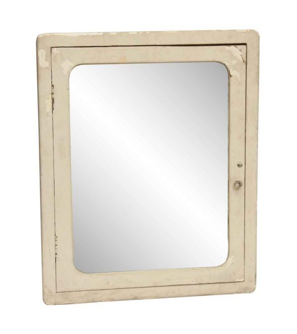 White Wooden Medical Cabinet with Mirror