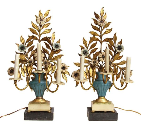 Italian Floral Table Lamps with Marble Bases