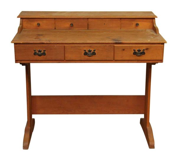 Colonial Style Pine Desk with Seven Drawers