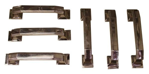 Nickel Over Bronze Art Deco Door Pulls