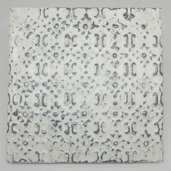 White Floral Grid Tin Panel