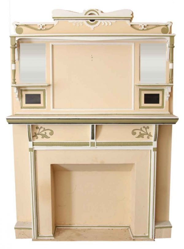 Painted Wooden Mantel & Overmantel
