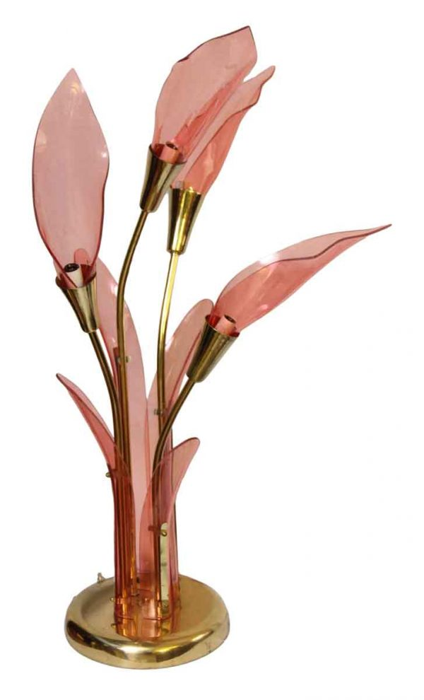 Pink Lucite Floral Lamp