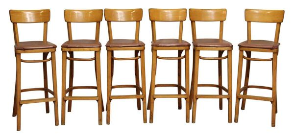 Set of Bar Stools with Brown Vinyl Seats in Thonet Style