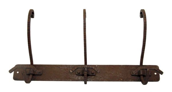French Three Hook Wrought Iron Rack
