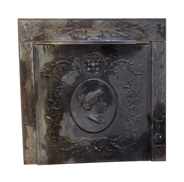 Figural Cast Iron Fireplace Cover Set