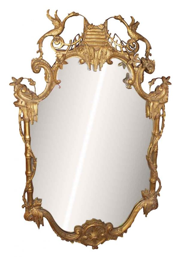 Gold Gilt Mirror with Asian Details