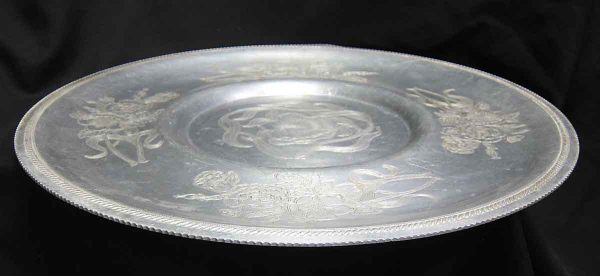 Hand Wrought Aluminum Carved Floral Platter
