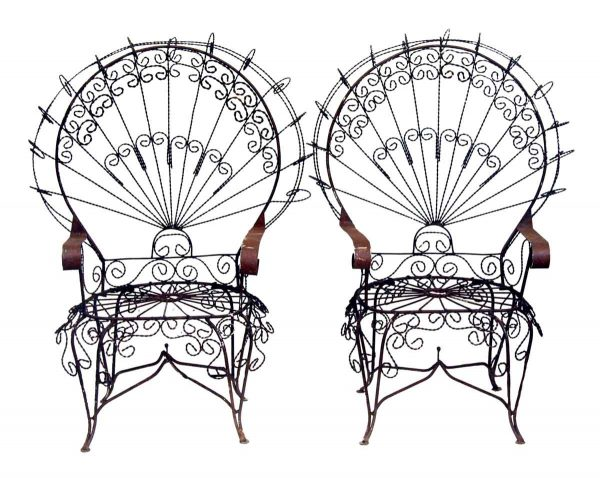 Pair of Twisted Metal Garden Chairs