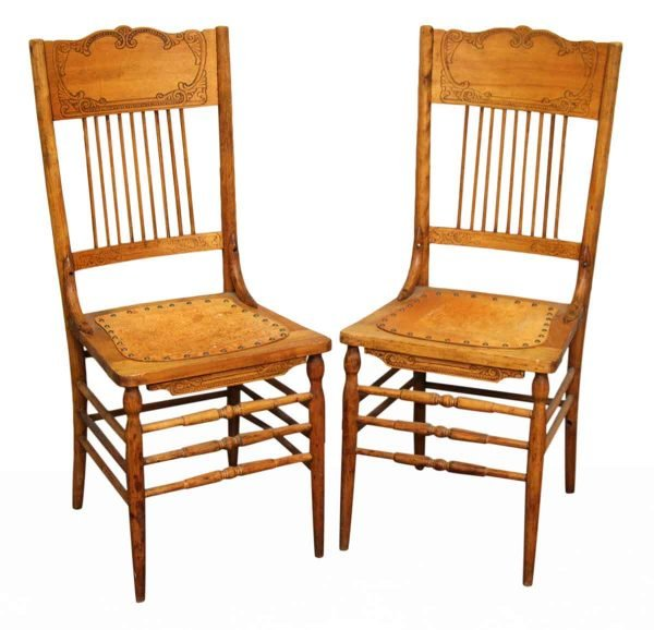 Pair of Leather & Wood Chairs