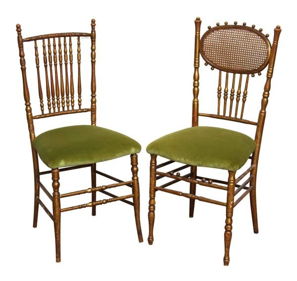 Pair Wooden Bannister Back Chairs
