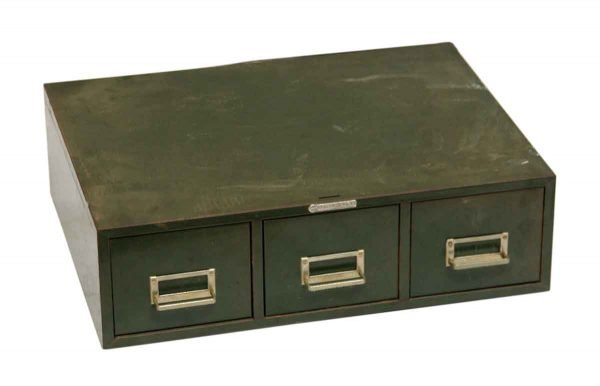 Small Three Drawer Green Metal Card Catalog