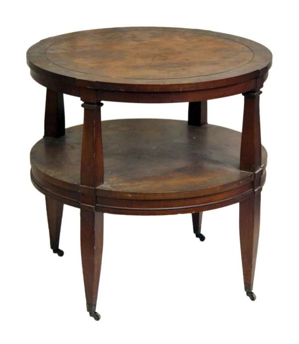 Round Wood Coffee Table on Wheels