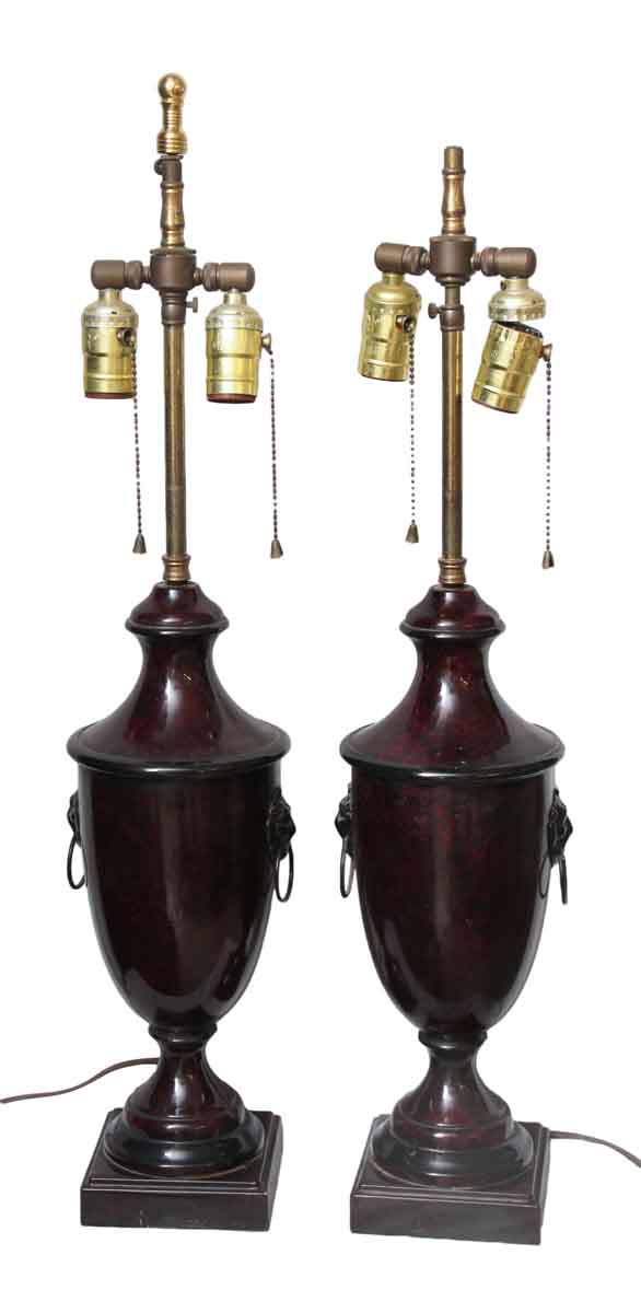 Pair of Metal Lamps with Lion Details