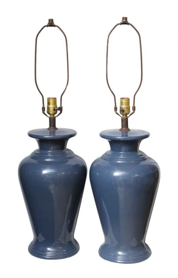 Pair of Blue Traditional Ceramic Table Lamps