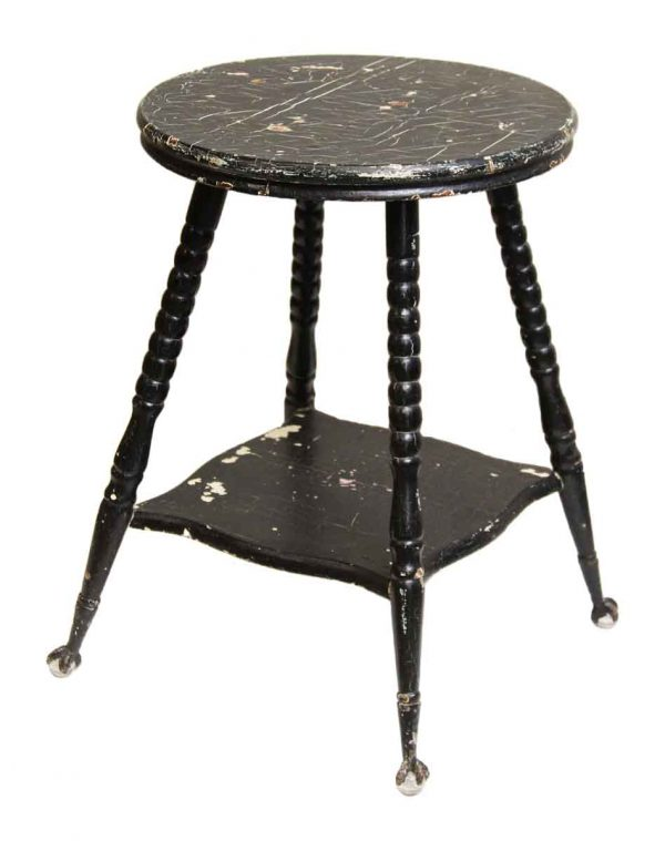 Black Wood Table with Glass Claw Feet