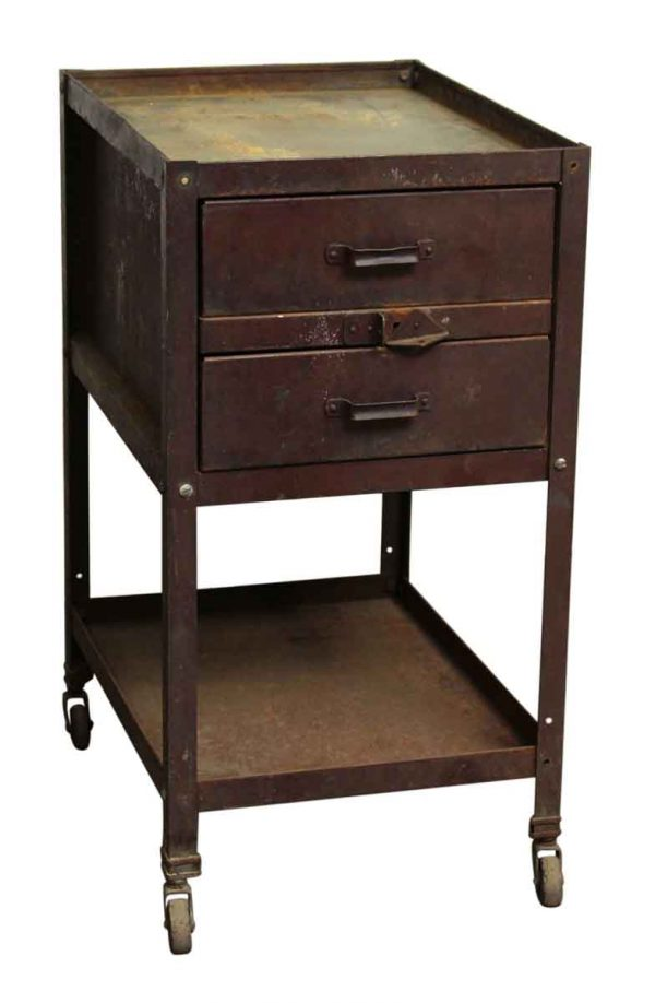 Two Drawer Metal Cabinet with Wheels