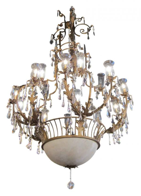 Wrought Iron Cage Chandelier with Multiple Crystals