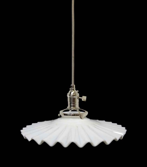 Thin Opaque Milk Glass Shade Pendant