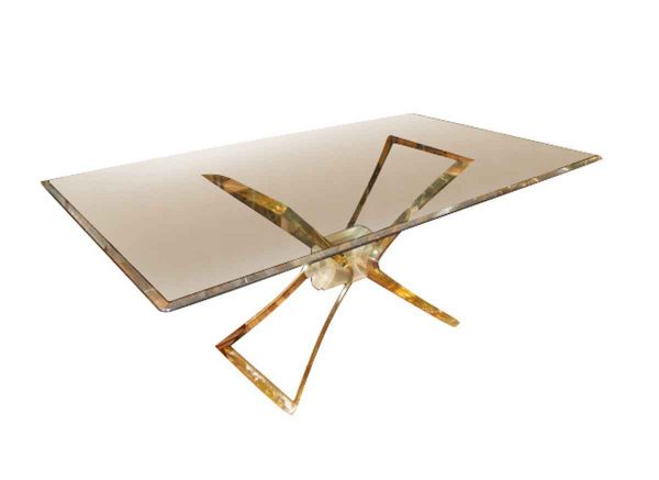 Lucite Butterfly Base with Beveled Glass Top Dining Table