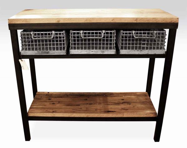 Industrial Console Table with Galvanized Basket Drawers