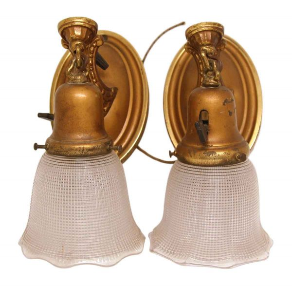 Pair of Weber Sconces with Glass Shades