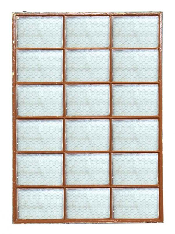 18 Panel Metal Window with Clear Chicken Wire Glass