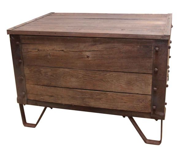 Large Wooden Chest with Metal Details & Studs