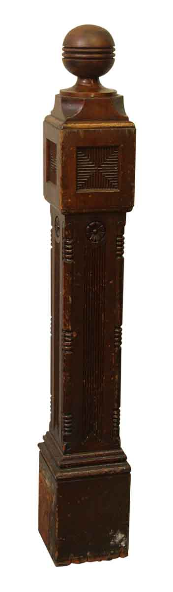 Carved Wooden Newel Post with Queen Anne Detail
