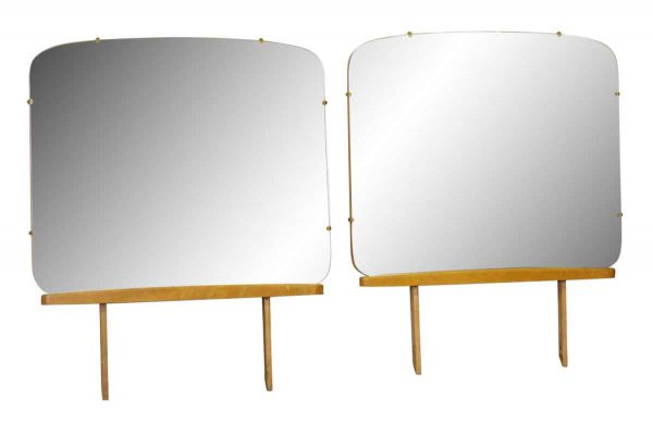 Rounded Square Dresser Mirror with Wooden Base