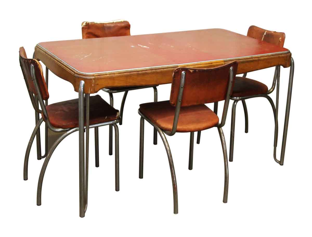 Vintage dining room table four chairs olde good things for M s dining room chairs