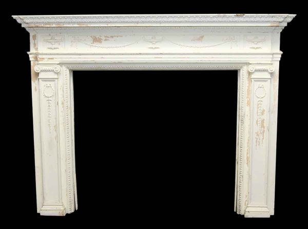 White Wood Federal Style Salvaged Mantel